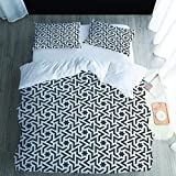 Juego de funda de edredón de 3 piezas, color blanco y negro de cinco puntas, microfibra suave, para dormitorio, habitación de invitados, habitación de los niños