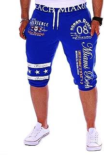 Men's Sport Pants Capri Pants - LimseaFashion Printing Shorts Drawstring Elastic Waist Casual Loose Gym Bodybuilding Joggers