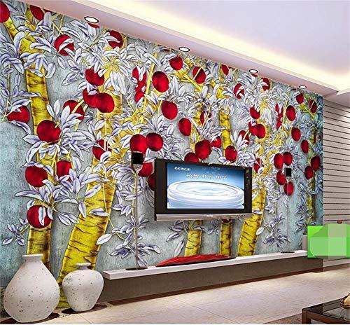 Fototapete 3d effekt3d wallpaper fototapete benutzerdefinierte größe wand wohnzimmer goldene apfelbaum malerei sofa tv hintergrundbild für wände 3d Bild 1 ㎡ (1 Quadratmeter)