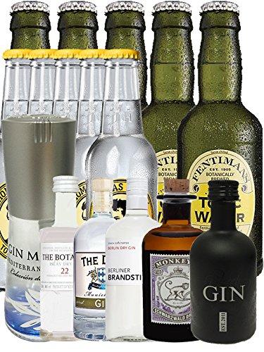 Gin Probierset (Groß) 1 x Gin Mare 0,1 Liter + Botanist 5 cl + Duke 5 cl + Brandstifter 0,1 Liter + Monkey 5 cl, Black Gin 5 cl + 5 Thomas Henry Tonic 0,2 Liter + 5 Fentimans Tonic 0,2 Liter