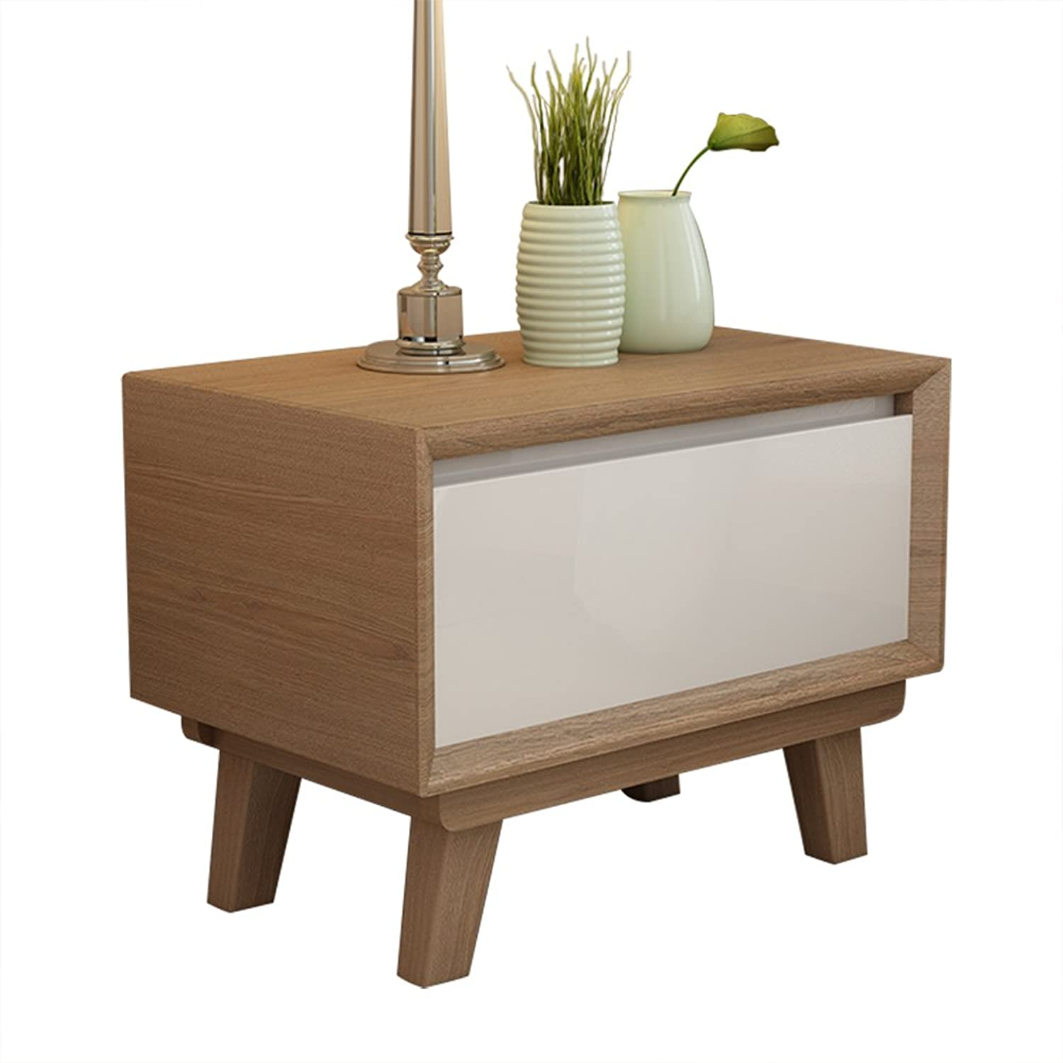 Qing MEI Nordic Solid Wood Bedside Table Simple Modern Assembled Storage Cabinet Simple Bedroom Furniture Storage Cabinet (Size  45X 43.2X42CM) A++