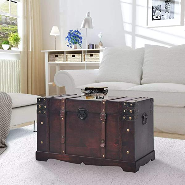Wooden Storage Trunks 25 98x14 96x15 75 Inch Wood Made Pirate Treasure Chest Wooden Iron Lock Leather Chest With Latches Box For Antique Style Storage Decorative Keepsak Chest