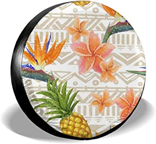 Carwayii Spare Tire Cover Tropical Flowers and Pineapples, Sun Protector Waterproof Cover Wheel, Durable Design, Universal...