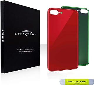 غطاء خلفي Cell4less غطاء البطارية بديل لباب البطارية مع أداة إزالة لاصقة خضراء متوافقة مع Apple iPhone 8 Plus (أحمر)