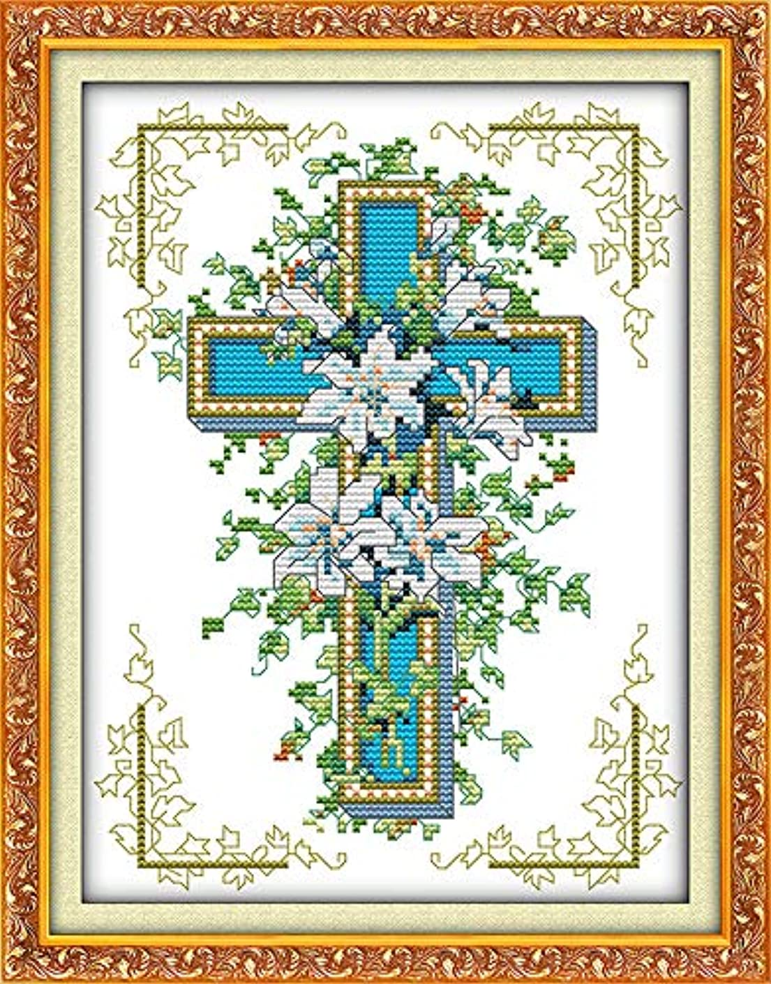 Cross Stitch Stamped Kits Pre-Printed Cross-Stitching Starter Patterns for Beginner Kids or Adults, Embroidery Needlepoint Kits The Cross Lily