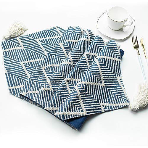 excovip Camino de Mesa con borlas para Restaurante Cocina Comedor Banquete de Boda Banquete Eventos Granja decoración (Azul, Doble Capa, 34x180 cm)