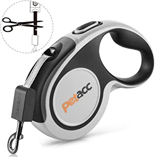 petacc Retractable Dog Leash, Reuse Design Heavy Duty Pet Walking Leash 360° Tangle Free,16ft Strong Nylon Tape, One-Handed Brake, Pause, Lock