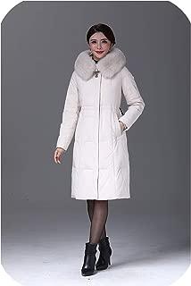 Women Duck Down Jacket Coat Long Ultralight Natural Feather Real Fox Fur Duck Down Parka #8926,White,XL