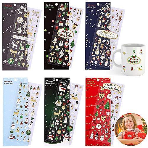 Pegatinas de Navidad, 6 hojas, personalizables, con purpurina, para manualidades, manualidades, para niños, adultos, tarjetas, etc.