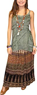 Mogul Interior Women's Broomstick Skirt Printed Boho Chic Gypsy Maxi Skirts SM Brown