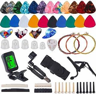 Guitar Accessories Kit Include Guitar Strings, Guitar Picks,Guitar Bridge Nut & Saddle,Bridge Pins, Tuner, Capo,Strap,Pick...