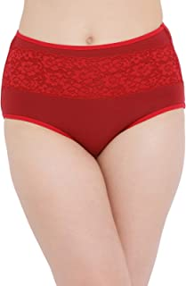 Clovia Women's Cotton High Waist Hipster Panty with Lace Panel