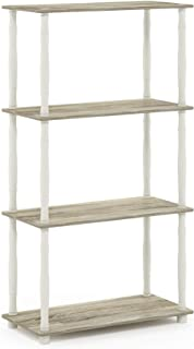 Furinno Turn-N 4-Tier Multipurpose Shelf Display Rack with Classic Tubes, Sonoma Oak/White