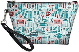 UNICEU Women's Girls PU Leather Travel Multi-Functional Organizer Makeup Bag Outdoor Portable Zipper Closure Cosmetic Bags 8.46x2.56x5.71 inch Nurse