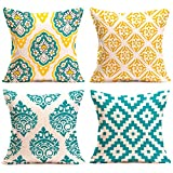 ANTOPM 4 PCS Pillow Covers, 18 x18 inch Square Pillow Cases Decorative Throw Pillow Covers Cushion Covers Cases Geometric Patterns Pillowcases for Sofa,Bed,Couch (Green+Yellow)