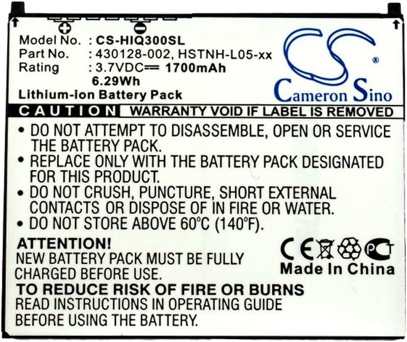 Replacement Battery for HP iPAQ 300 310 312 314 316 FA976AT FA977AA FB077AA FB078AA FB079AT,fits Part No 430128-002 HSTNH-F15C HSTNH-L05-xx HSTNH-S12B, 3.7V 1700mAh Li-ion