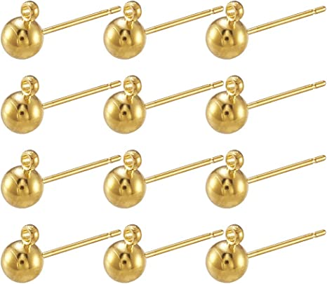 Craftdady 500Pcs Platinum Blank Base Stud Earring Brass Round Cup Post Ear Stud Ear Pin with Loop for 6mm Pointed Rhinestone Half Drilled Bead Earring Making