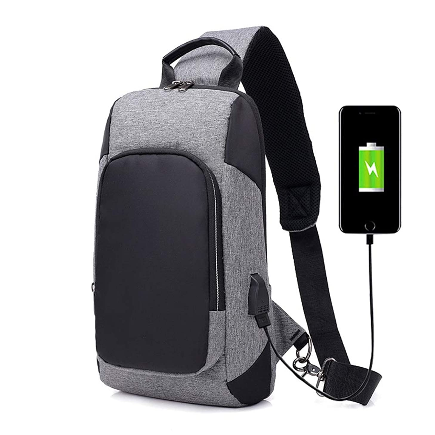 NY-close Multifunctional Sling Shoulder Bag with USB Sports Crossbody Bag,Rucksack Handbag School Daypack Lightweight Sport Hiking Travel Camping Gym Daypack Men Women (Color : Gray)
