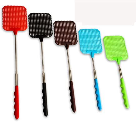 VIPITH 5 Pack Extendable Fly Swatters Durable Telescopic Mosquito Zapper Bug Killer with Plastic Surface Long Handle and Anti Slip Grip (Red Blue Green Black Brown)