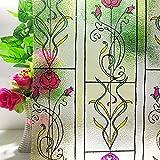 LMKJ Película de Vidrio de privacidad de Arte de Ventana de Hierro de Rosas Coloridas, Pegatinas de Ventana Decorativas teñidas estáticas de Vinilo para Dormitorio baño C4 60x100cm