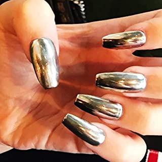 Drecode Metal Silver Fake Nails Coffin Full Cover Acrylic Mirror Fashion False Nails Punk Party Prom for Women and Girls(24Pcs)