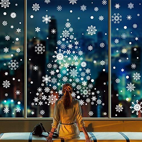 492 Schneeflocken Fensterbilder Fensterdeko Weihnachten Weihnachtsdeko Statisch Haftende Aufkleber Schneeflocken Weihnachtssticker für Türen Schaufenster Vitrinen Glasfronten Christmas Aufkleber