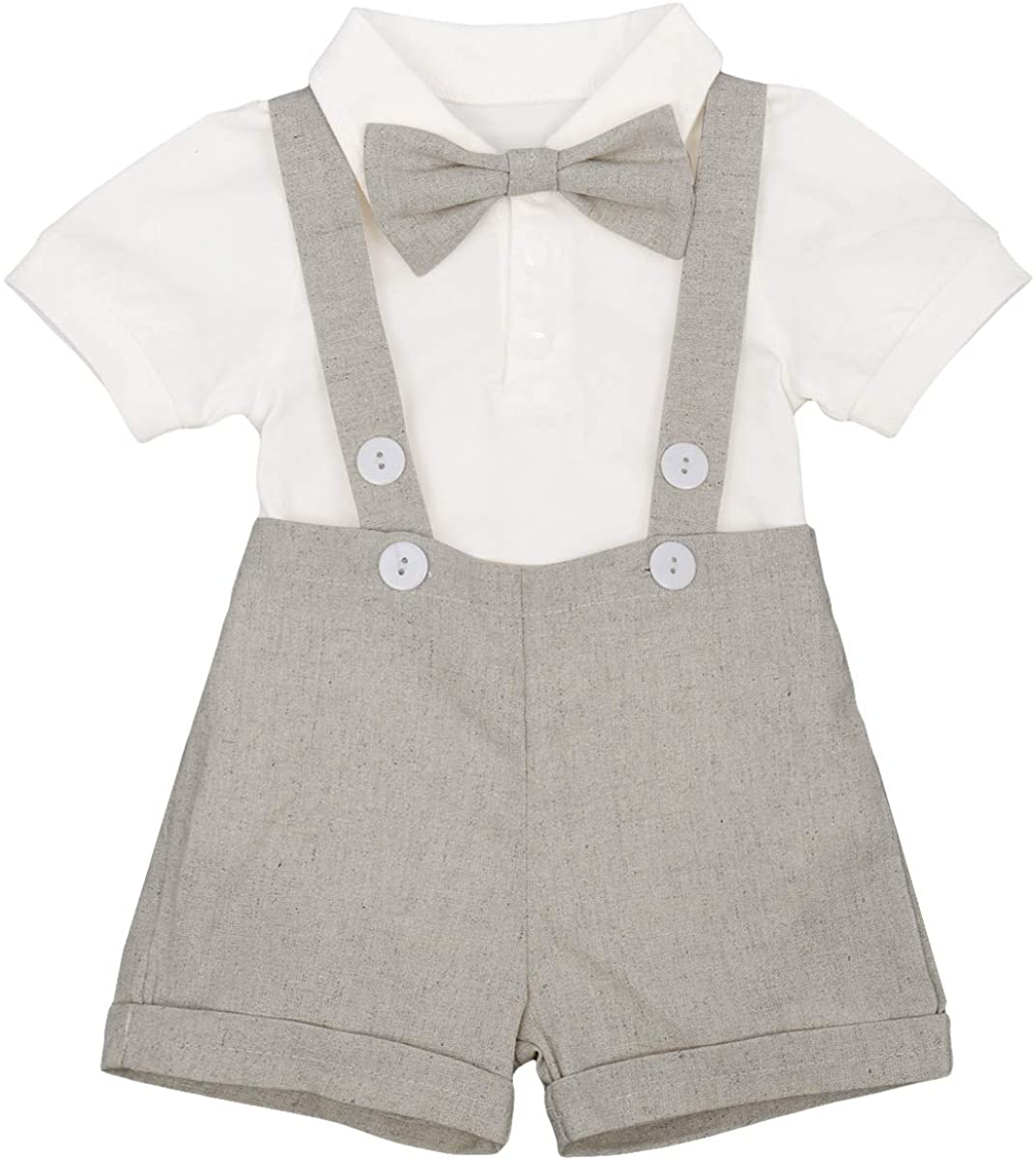 Baby Boys Formal Suit Gentleman Bowtie Romper Suspenders Shorts Wedding Tuxedo Outfit Cake Smash Christening Clothes