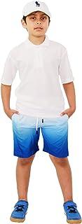 Kids Boys Shorts Fade Two Tone Royal Blue Summer Chino Shorts Knee Length Pants