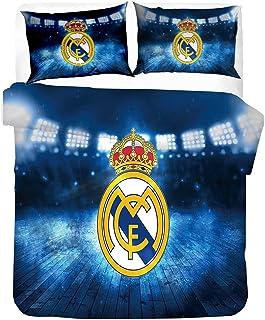 DZSCW Real Madrid Housse de Couette,Parure De Lit,Housse Couette Ado,Housse de Couette avec Fermeture éclair- Taie d'oreil...