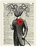 Victorian Gentleman Octopus Upcycled Vintage Dictionary Art Print 8x10, unframed