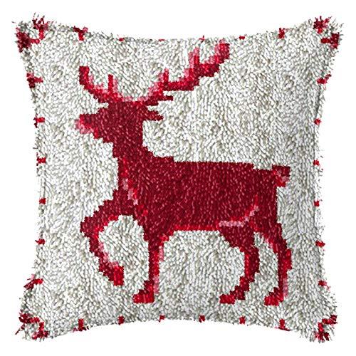 Latch Hook Kits De Navidad, Juegos De Bordar Funda De Almohada con El Patrón De Navidad Manualidades Impreso Lienzo Crochet, 2 Ciervos De La Navidad 17 '' X 17 '',B