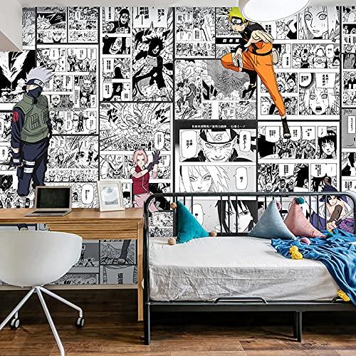 Fondo De Pantalla De Anime Japonés Naruto Fondo De Dibujos Animados De Manga En Blanco Y Negro Pared De Habitación De Los Niños Papel Tapiz De Dormitorio