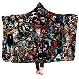 DOCHI QUEEN Hooded Blanket Adult Horror Movie Character Hooded Blankets Fleece Wearable Throw Blanket for Adults Kids Cuddle Throw Warm Cozy Blanket Microfiber Bedding 59' 78' (Type D)
