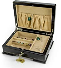 Musical Jewelry Box with Compartments, Solid Wood Music Box Made in Italy, Elegant 18-Note Musical Box with Ring Holder & Necklace Catcher, Handmade Jewelry Box with 400+ Song Choices