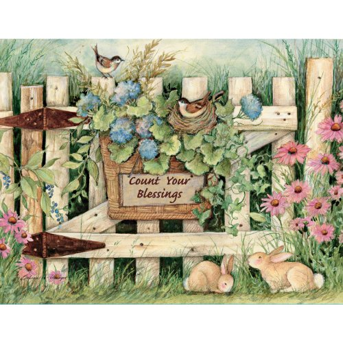 Lang Garden Gate Boxed Notecard by Susan Winget, 4 x 5 Inches, 13 Cards and Envelopes (1005300)