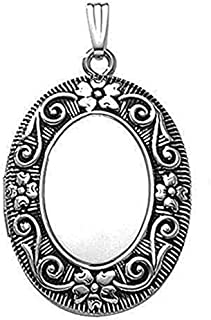 Sterling Silver Oval Antique Picture Locket - 3/4 Inch X 1 Inch