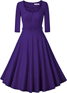 Women's 1950s Vintage Scoop Neck 3/4 Sleeve Pleated Swing Cocktail Dress