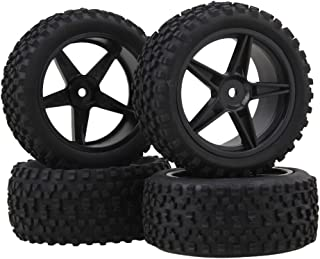 BQLZR Black Front Rear Pentagram Plastic Wheel Rims + High Grip Rubber Tires Tyres for RC