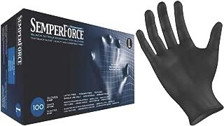 Black Nitrile Exam Tattoo Gloves, Powder Free, Latex Free, Semperforce, 100/Box Size XL (100, X-Large)