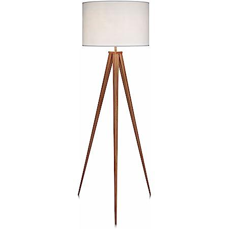 Lampadaire Romanza Trépied Lampe De Sol Sur Pied Abat-jour Blanc VN-L00007-EU