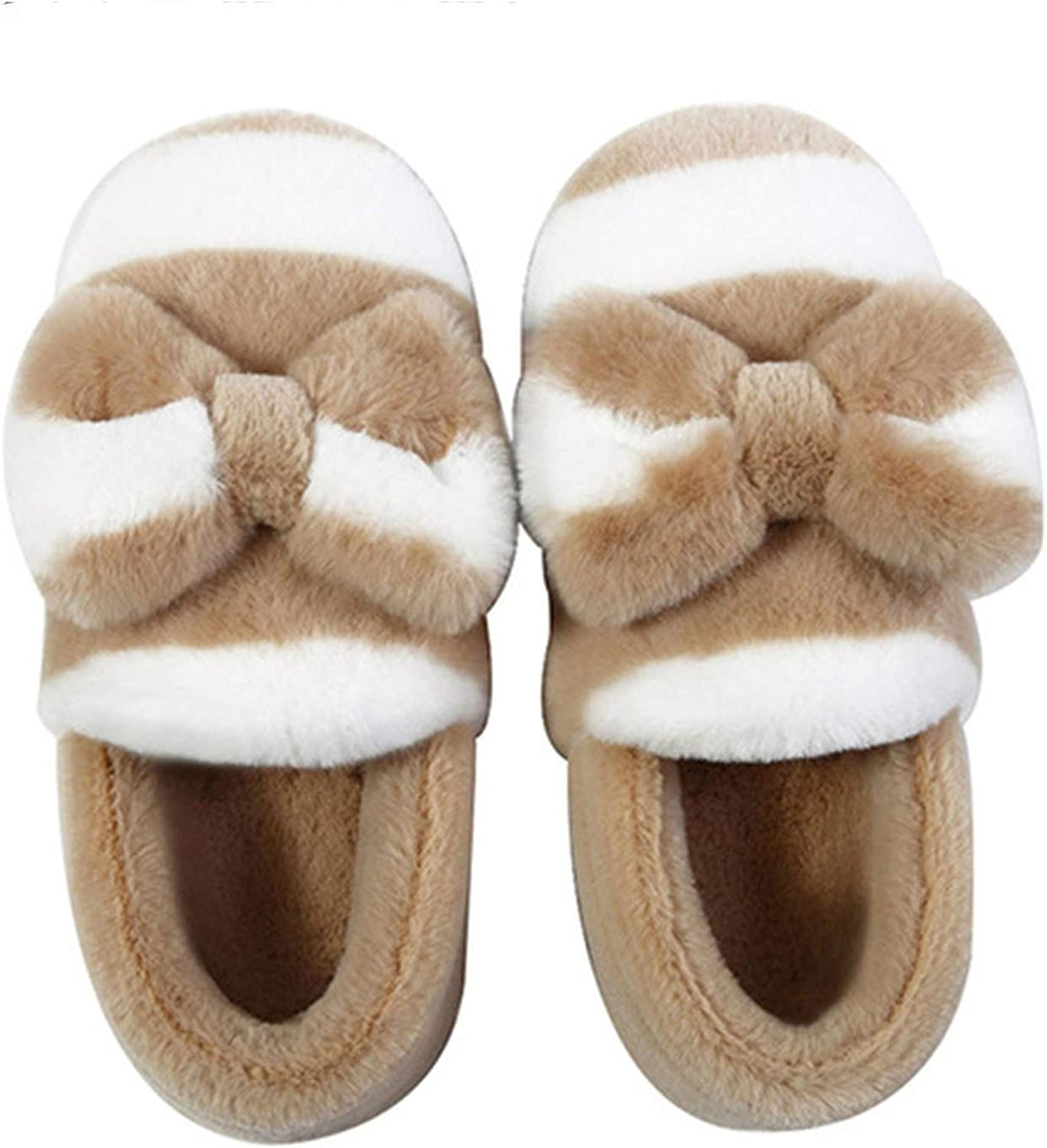 Can't be satisfied Fluffy Slippers Women Butterfly-Knot Striped Slippers with Fur Soft Winter Warm House Slippers,Plush Khaki,5.5