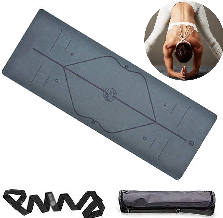 CWDXD Yogamatte Fitness Gymnastikmatte übungsmatte Fitness-Yoga-Matte Yoga-Matte, Beste umweltfreundliche Rutschfeste Ausrichtung Yoga-Matte Geeignet für Mnner und Frauen,schwarz