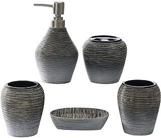 Soap dispensers Ceramic Bathroom Five-piece Wash Set for Bathroom Kitchen Sink Soap Dispenser Hand Soap Shampoo Shower Gel...