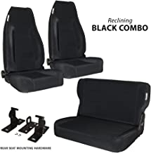 Black Mountain 1976-1995 Jeep CJ/YJ Wrangler Seats Black Denim Combo 2 Front 1 Rear Seat