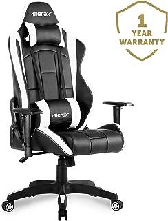 Merax Gaming Chair High Back Computer Chair Ergonomic Design Racing Chair (White&Black)