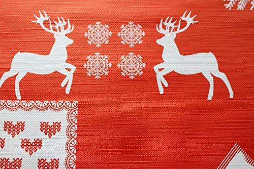 WJDrome, tovaglia rossa stile natalizio con decorazione a rilievo, facile da pulire, dimensioni: 140cm x 200cm