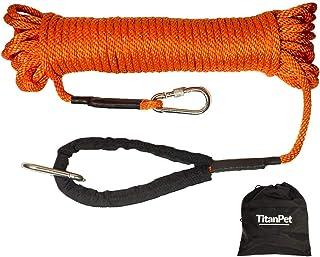 TitanPetトレーニングリード、ロングロープ、10m / 20m反射ナイロン、丈夫で耐久性のある犬のリード、屋外の散歩や遊びに最適な長さ調節の可能なリード 水に浮き、絡まりにくい (20m, オレンジ)