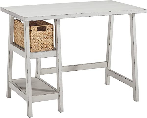 Ashley Furniture Signature Design Mirimyn Small Home Office Desk 2 Shelves Includes Brown Basket Distressed Antique White
