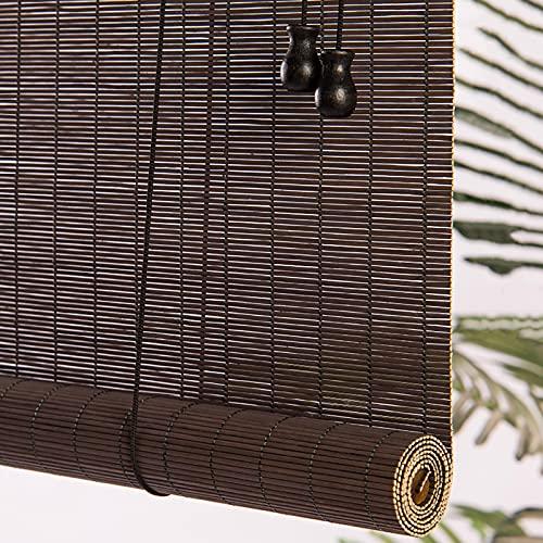 Estores Enrollables Patio/Ventanas/Puerta/Gazebo Cortinas Enrollables de Bambú, Estilo Japones Persianas Enrollables De Protección Solar Con Ganchos, 80cm / 100cm / 120cm / 140cm De Ancho