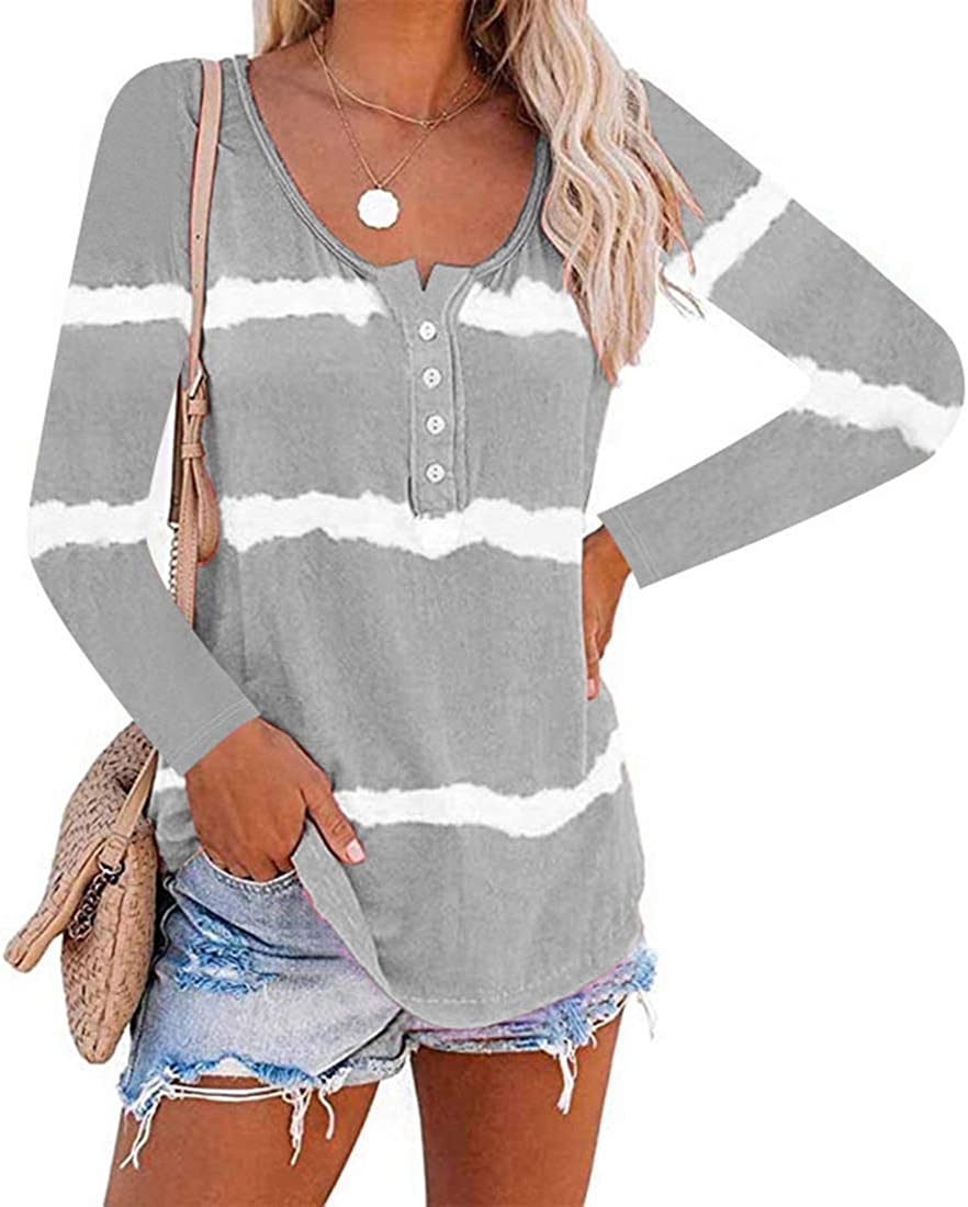 DKKK Women's Round Neck Long Sleeve Buttons Embellish Color Block Casual Tunic Blouse Shirts